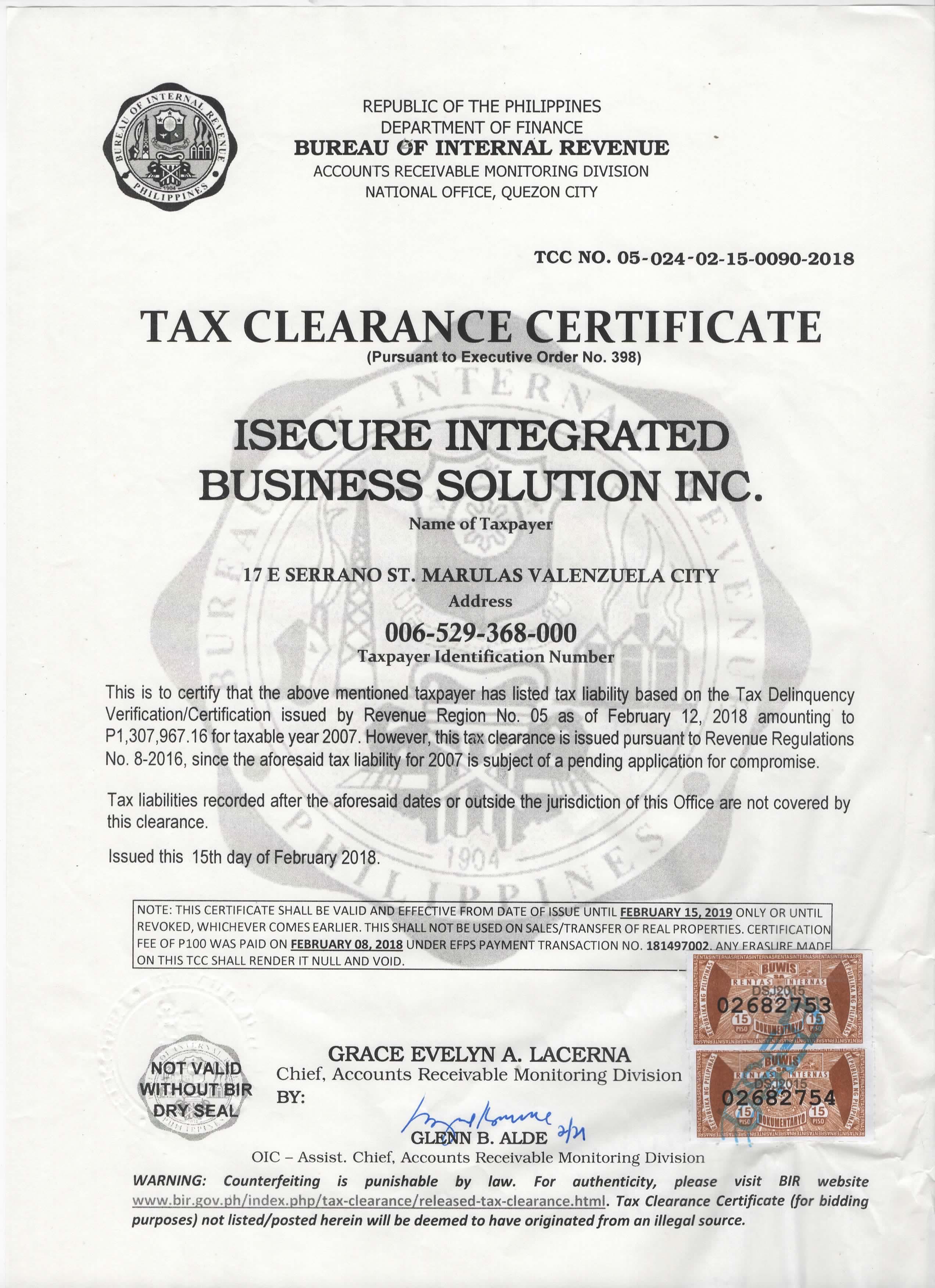 clearance tax certificate traffic business certificates
